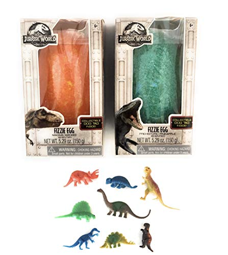 (Instantly Inspired Jurassic World TRex Dinosaur Bath Bombs Fizzing Surprise Egg Set with 8 Bonus Action Dinosaurs - with Orange Mango & Green Pineapple)