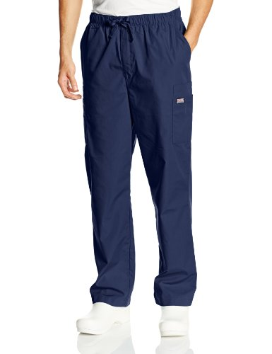 Cherokee Men's Originals Cargo Scrubs Pant, Navy, Medium - Scrub Elastic Pants Back