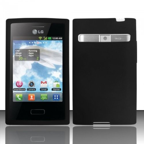LF Black Silicon Skin Case Cover, Lf Stylus Pen and Wiper For StraightTalk Net 10 LG Optimus Logic L35g Dynamic L38c, Verizon Zone VS410 (L38c Accessories For Phone Lg)