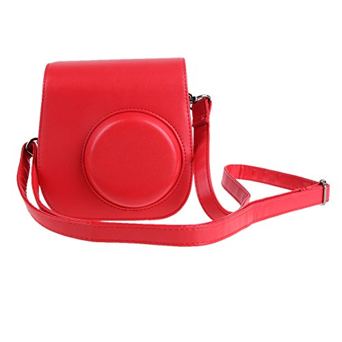(ttnight PU Leather Instant Camera Case Camera Strap Bag Case Cover Pouch Protector for Polaroid Photo Camera for Fuji Fujifilm Instax Mini 8 (Red))