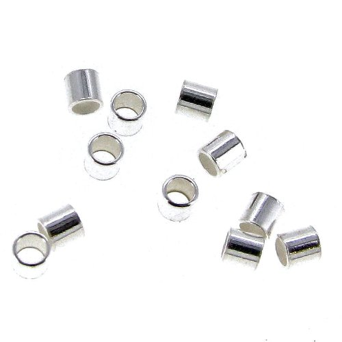 Dreambell 100 pcs 925 Sterling Silver Crimp Bead 2mm X 2mm Tube Spacer