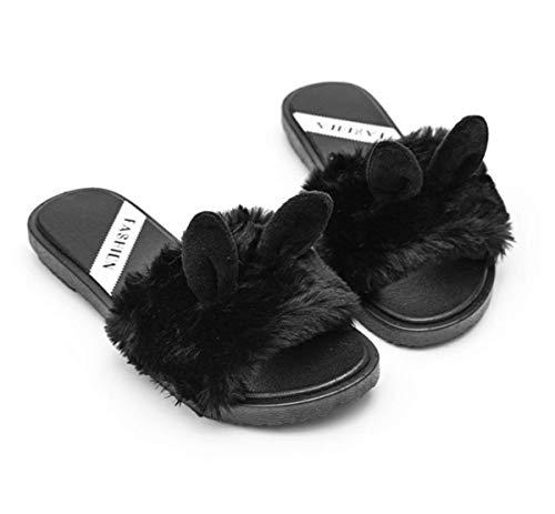 Doublure Femme Peluche Hiver Douce Fanessy Fourrure Chaud Mode Homme Mules Automne Coton Pantoufle Noir Chausson 8aIw0