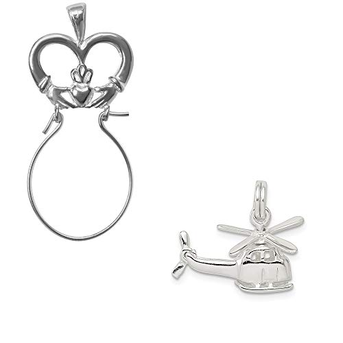 Mireval Sterling Silver Helicopter Charm on a Claddagh Charm Holder