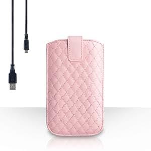 Yousave Accessories-Carcasa para Samsung Galaxy J1 () 2016, diseño de brillantes, color rosa claro-Funda de piel sintética con pestaña para tirar, incluye cable de carga Micro USB