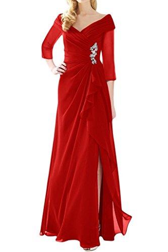 Ange Mariée Manches Pure Mère Fendue Asymétrique De La Robe De Mariée Rouge En Mousseline De Soie