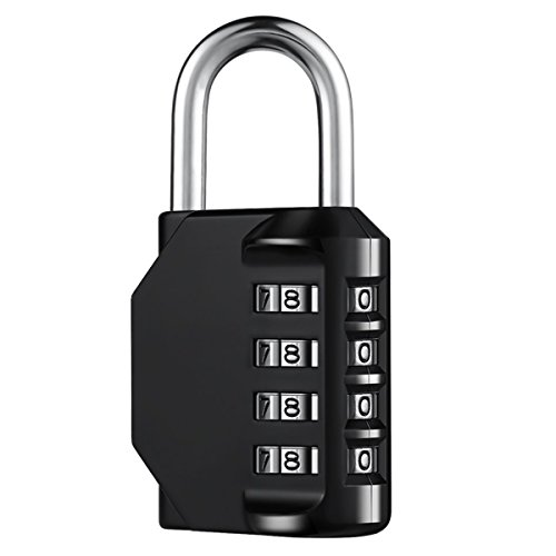 SJ 4 Digit Padlock for School, Luggage Suitcase Baggage Locks, Filing Cabinets, Gym & Sports Locker, Toolbox, Fence, Case, 1 pack (Black) (Stainless Steel Letter Locker)