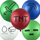 Set of 50 Pixel Style Miner Party Balloons Pixelated Mining Supplies Decorations