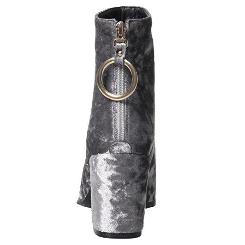 AIYOUMEI Damen Runde Zehen Ankle Boots Blockabsatz Reißverschluss Stiefeletten Warm Winter Stiefel Silber