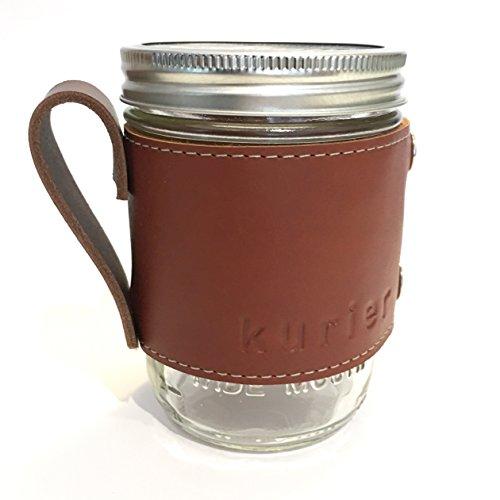 le full grain leather Camp Mug/glass mason ball canning jar mug travel coffee cup with handle handmade in USA 16 oz. glass jar included. ()