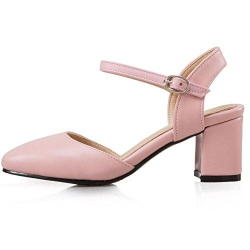 Rosado de de Tobillo Zapatos Sandalias Tacon Cerrado Oficina Hebilla TAOFFEN Correa Elegante Mujer Medio Trabajo xCHHpw6q