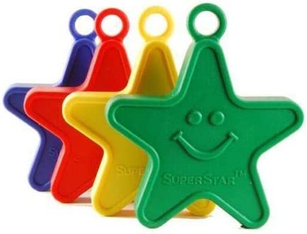 Plastic Balloon Weights Heavy 100g Star Shaped Primary Colours Weights x 10