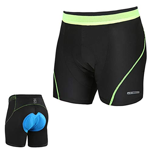 BORSDS Men's 3D Padded Bike Bicycle MTB Cycling Underwear Shorts Bike Mountain Compression Tights Shorts Green Line M