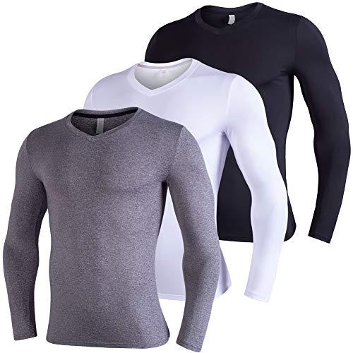 Lavento Men's Compression Shirts Baselayer V-Neck Long-Sleeve Dry Fit T-Shirts (3 Pack-3626 Black/Dark Gray/White,Large)
