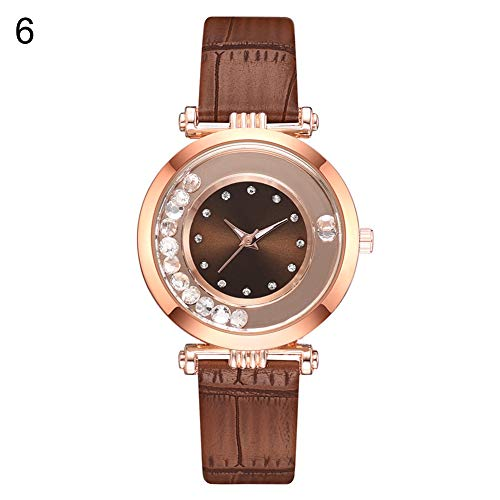 gu6uesa8n Wrist Watch for Women Girls Fashion Rhinestone Balls Round Dial Crocodile Pattern Strap Quartz - ()