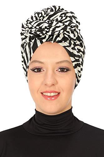 Instant Turban Cotton Scarf Head Wrap Chemo Headwear Cancer Cap - Zebra -