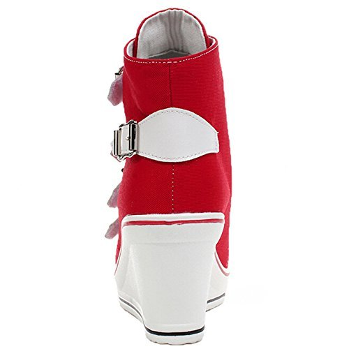 Odema Zapatillas de cana alta, de lona, para mujer Rojo