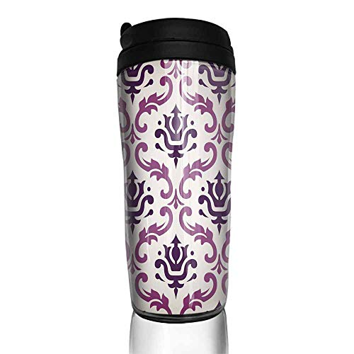 coffee cups with lids 16 oz Vintage Vector Leaf Damask Brocade Vine Tapestry Wallpaper Background Pattern 12 oz,coffee cup to go for men ()