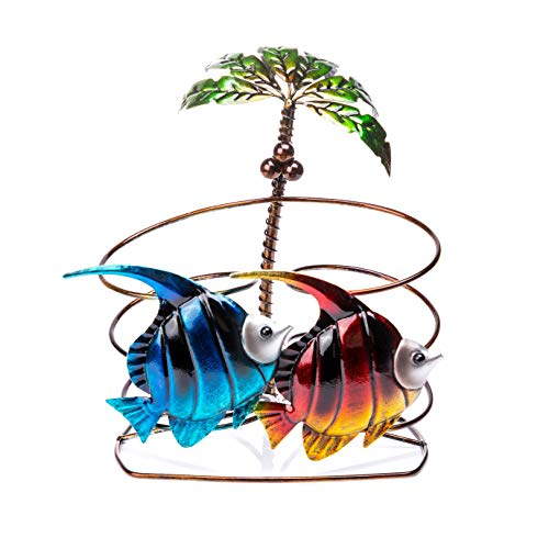 (FLY SPRAY Wine Rack Tropical Fish Wrought Iron for Kitchen Restaurant Wine Cellar Bar Home Interior Decor Animal Creative Gifts Free Standing Wine Holder Display Rack Collection 2-Bottle )