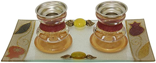 Lily Candlestick - Lily Art Red Tulip Design Glass Candlestick Holders with Matching Tray