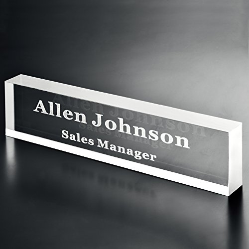 Acrylic Name Plate Office Desk Bar 3/4-Inch Custom Personalized Engraved (Glass Desk Nameplate)