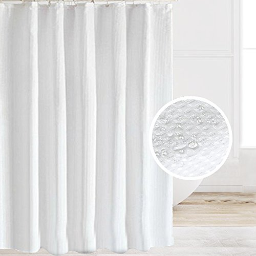 Eforcurtain Water Repellent Waffle Shower Curtain Fabric, Mildew-Free Bathroom Curtain for Hotel, Extra Long 72 by 78-inch, Pearl White