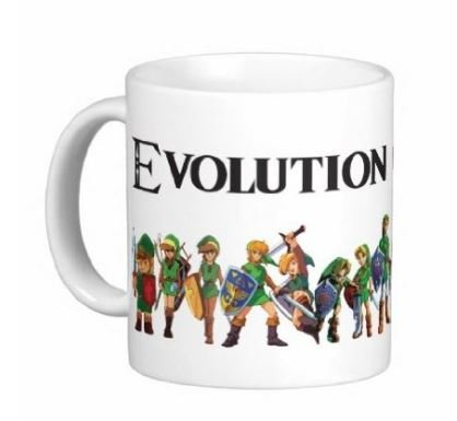 Evolution of Link Zelda 15 ounce Ceramic Coffee Mug - Dishwasher and Microwave Safe - Free Priority Shipping -0195 - Microwave With Free Shipping