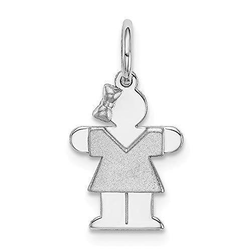 14k White Gold Mini Girl Pendant Charm Necklace Fine Jewelry Gifts For Women For Her ()