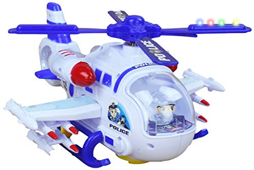 AJ Toys & Games Interactive Battery Operated Light Up Bump Go Toy Police Cop Helicopter Air Surveillance Unit Children Helicopter Sounds Plus Combat Sounds ()