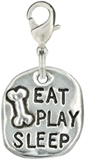 product image for Rockin Doggie Hand Stamped Pewter Dog Charm - Eat Play Sleep