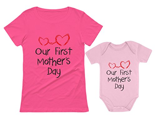 Our First Mother's Day Outfit for Mom & Baby Matching Set Bodysuit & Women Shirt Mom Pink Small/Baby Pink 18M (12-18M)