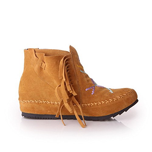 Slipping Inside Yellow with Sole Assorted VogueZone009 Color Boots Women's Heighten and Flock YRUqYB