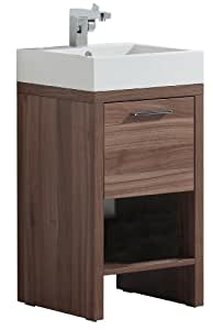 Luxo Marbre Relax V45 W Relax Vanity With Synthetic Marble Sink Walnut Bathroom Vanities