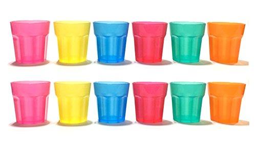 12pc Colorful ALAZCO Hard Plastic 2-Ounce Shot/Shooter Fu...