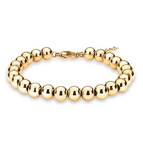 Gold Bead Stretch Bracelet - zindov Jewelry Wedding Bridal Stylish Beaded Bracelet in Stainless Steel Balls Chain Great Gift for Women Men Young Adults Color Tone 18K Yellow Gold Plated