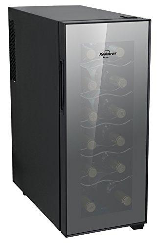 Koolatron WC12 Thermoelectric 12-bottle Slim Countertop Wine Cellar, Double-tempered Glass Door, Adjustable Temperature Control, Thermoelectric Cooling, Removable Shelves, Black