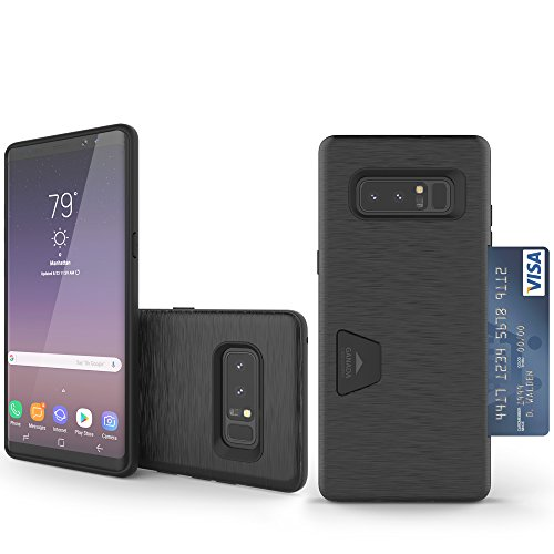 Note 8 Case, Molan Cano [Crazy Bumper] Dual Layer PU Case Wallet Cover with 1 Card Slot for Samsung Galaxy Note 8 - Metallic Black