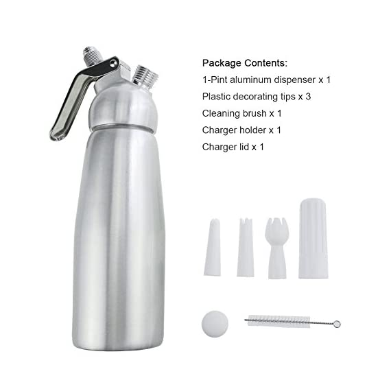Professional Whipped Cream Dispenser Large 500ml/1 Pint Capacity Canister with 3 Various Nozzles, Cleaning Brush 5 HOME OR PROFESSIONAL: No more hand cramps from whipping, this whipped cream dispenser does all the work for you - just put a nitrous oxide cartridge (sold separately) into the dispenser, fill with heavy cream, screw the top and you are in business, an ideal whipped cream maker for home or professional use. DURABILITY AND SAFETY: The whipped cream dispenser's all-aluminum body and head are durable and safety to withstand daily use. The matte aluminum finish looks classic and provides a secure grip. PROFESSIONAL-QUALITY CREAM WHIPPER: Made of high quality commercial grade aluminum with stainless steel piston and reinforced aluminum threads for dispensing pretty clouds of whipped cream with different designs onto ice cream, cakes, pies, puddings and more.
