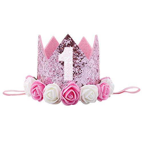 bb29a70e598 Galleon - 1st Birthday Crown Princess First Party Hat Baby Girl Flower  Tiara Headband Rose