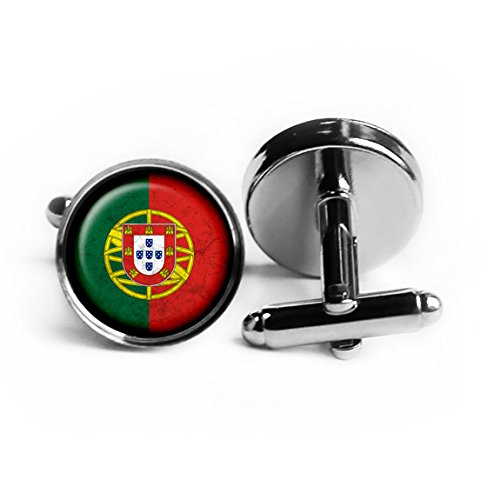 Portugal Portuguese Flag Rhodium Plated Silver Cufflinks (Silver Portuguese Jewelry)