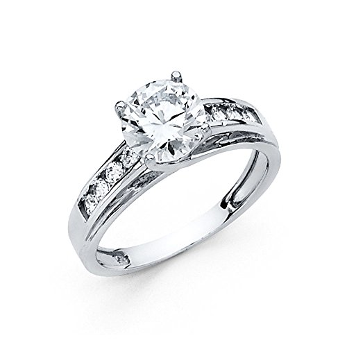 14K Solid White Gold Round Cut Cubic Zirconia Wedding Engagement Ring with Channel Side Stones, Size - Channel Engagement Rings