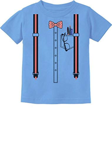 Halloween Nerd Suspenders Bowtie Geek Easy Costume Toddler Kids T-Shirt 4T California Blue -