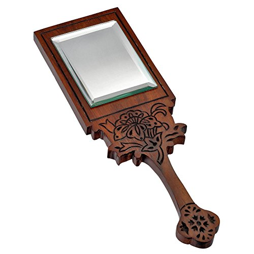 - Handcrafted Wooden Framed Round Handheld Mirror (RECTANGLE SHAPED)