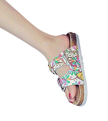 Sandalias Multicolor Verano de la Punta Abierta Casual Vendaje Playa Zapatillas Sandalias ZKOO Zapatillas Dedo imagen2 Verano de de Mujeres Como Hebilla Impresión wvzWIqC4