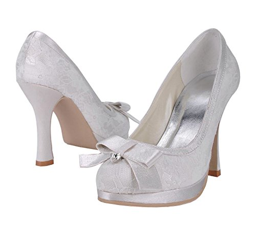 Minitoo Womens MZ567 Round Toe Stiletto Heel Lace Bridal Weddiing Platform Shoes Pump White-10cm Heel fGSoj1b