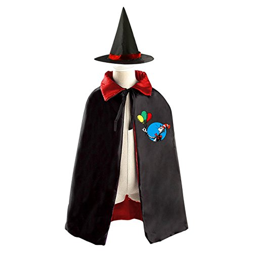 Dr Seuss Halloween Wizard Witch Kids Cape With Hat Party Cloak