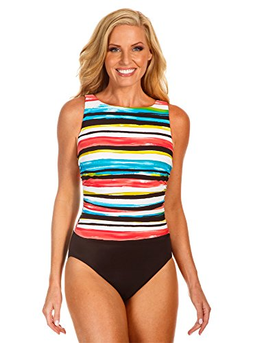 Miraclesuit Morning Sun Colorblock D-Cup Regatta Underwire High Neck Swimsuit Size 14D
