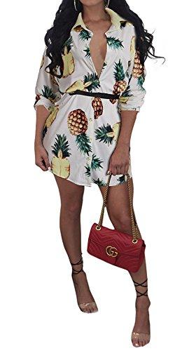 Frühling und Herbst Damen Shirt Kleider Mode Revers 3/4 Arm Kleid ...