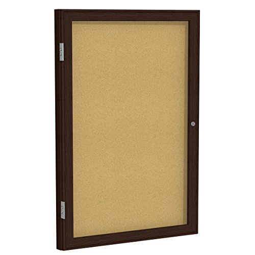 Ghent 24'' x 18'' Wood Frame Walnut Finish Enclosed Bulletin Board, Natural Cork (PN12418K) by Ghent