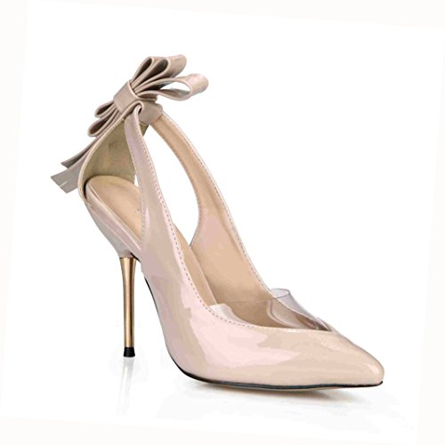 DolphinBanana Dress Stilettos Pointy Bow Heeled Sandals Lady Multi Colors Prom Wedding Party Club Pumps Shoes Prime Patent Nude
