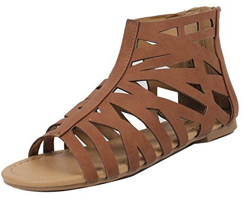 Soda Girl's Open Toe Strappy Cutout Flat Sandal (Tan, 2 M US Little (Soda Kids Shoes)
